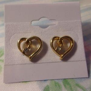 Rhinestone Accent Gold Tone Heart Pierced Earrings